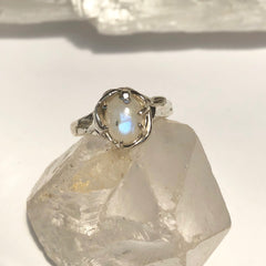 Moonstone moon ring- MADE TO ORDER