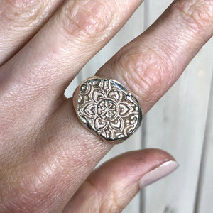 Stamped Mandala ring- MADE TO ORDER