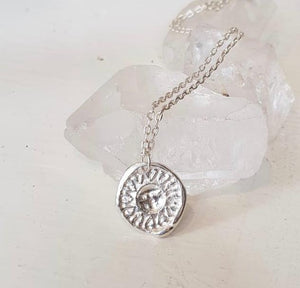 Stamped sun necklace- MADE TO ORDER