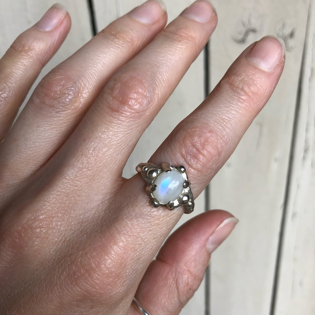 Moonstone galaxy ring