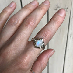 SALE! Moonstone galaxy ring- READY TO SHIP