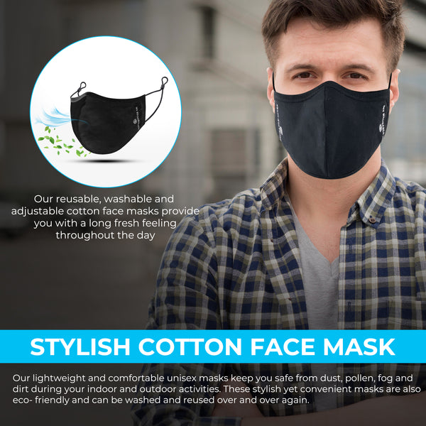 Black Reusable, Washable, and Adjustable Cotton Face Mask