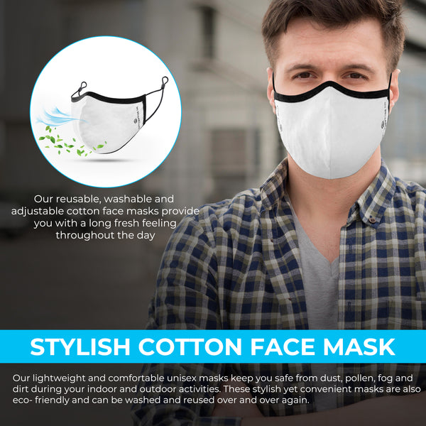 White Reusable, Washable, and Adjustable Cotton Face Mask