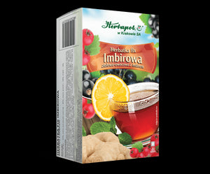 "HERBAPOL - GINGER TEA-FIX - 20 sachets - is excellent composition of ginger and comminuted fruits, rich in vitamins and microelements - is also recommended for the person, who have ""problem"" during a travel."