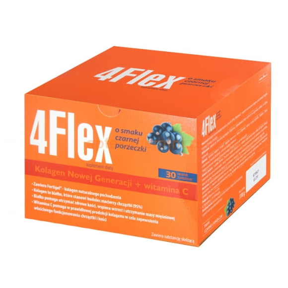 4 FLEX - 30 sachets  - New generation collagen + vitamin C, blackcurrant flavor