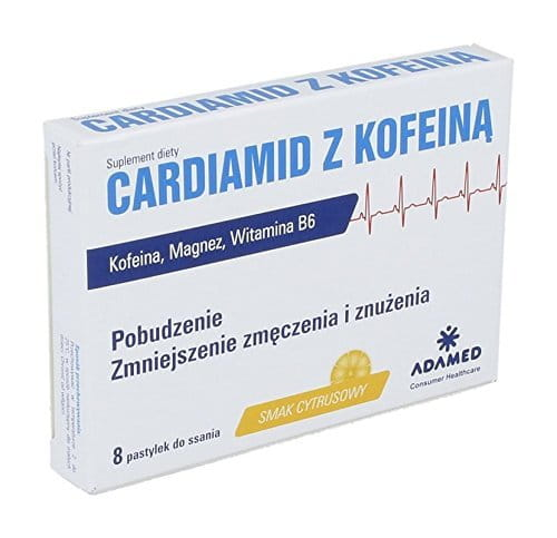 CARDIAMID WITH CAFFEINE - 8 LOZENGES - diet supplement contains caffeine, which helps to reduce mental fatigue and improves concentration...
