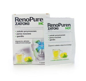 RENOPUREN HOT - 7 sachets - s recommended as a dietary supplement for people with persistent upper respiratory problems: - paranasal sinuses, the nasal cavity, throat - and support the immune system