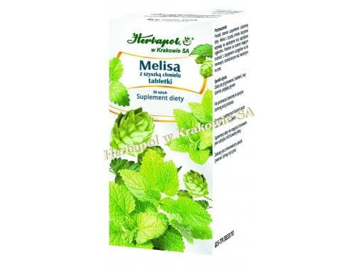 LEMON BALM WITH HOPS - 30 tablets - The product is recommended to people who find it hard to fall asleep, especially because they are prone to nervousness, irritable or suscetible to stress.