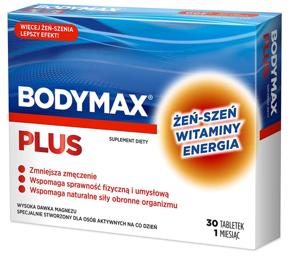 BODYMAX PLUS 30 tablets - recommend active people who: - lead busy lives - seek daily dose of energy, feeling tired, - they want to help their physical and mental - they want to strengthen your immunity, - seek daily ration of vitamins and minerals.