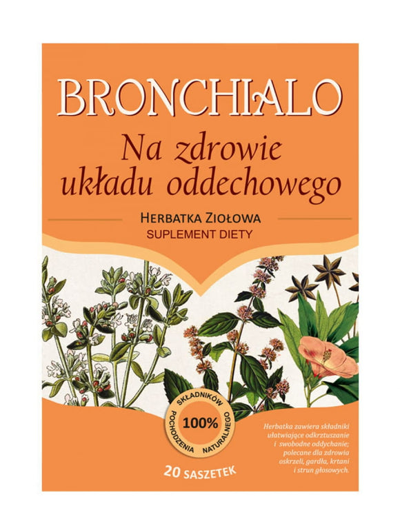 Herbal Tea - BRONCHIALO for Respiratory Health - 20 Twice Bigger sachets 5g Each - Franciscan Herbs - Franciscan Monks - Traditional Old Herbal Recipe