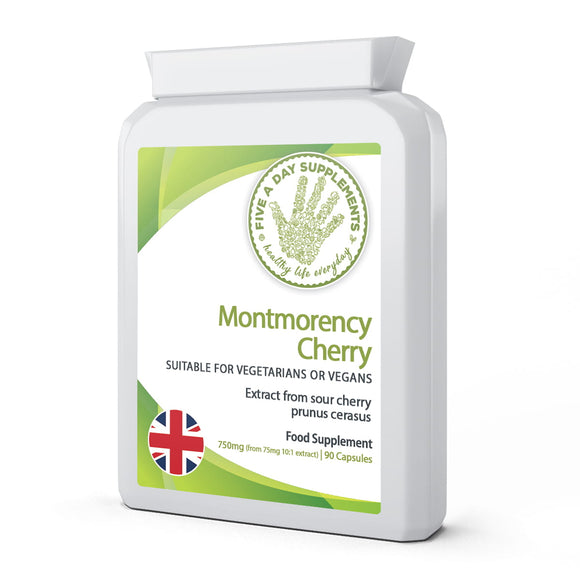 FIVE A DAY SUPPLEMENTS Montmorency Cherry 750mg 90 Capsules - Extract from Sour Cherry Prunus cerasus - Suitable for Vegetarians and Vegans