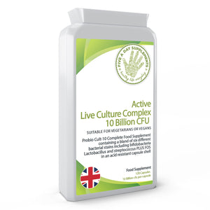 FIVE A DAY SUPPLEMENTS Active Live Culture Complex 10 Billion CFU 120 Capsules - Probio Cult-10 Complete Food Supplement - Suitable for Vegetarian and Vegans