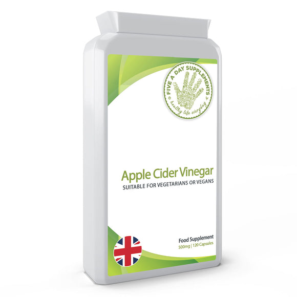FIVE A DAY SUPPLEMENTS Apple Cider Vinegar Supplement (500mg) - 120 Capsules -  Suitable for Vegetarian and Vegans