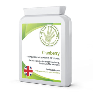 FIVE A DAY SUPPLEMENTS Cranberry 5040 mg 90 Tablets - Supports Healthy Bladder And Urinary Function - Suitable for Vegetarians and Vegans