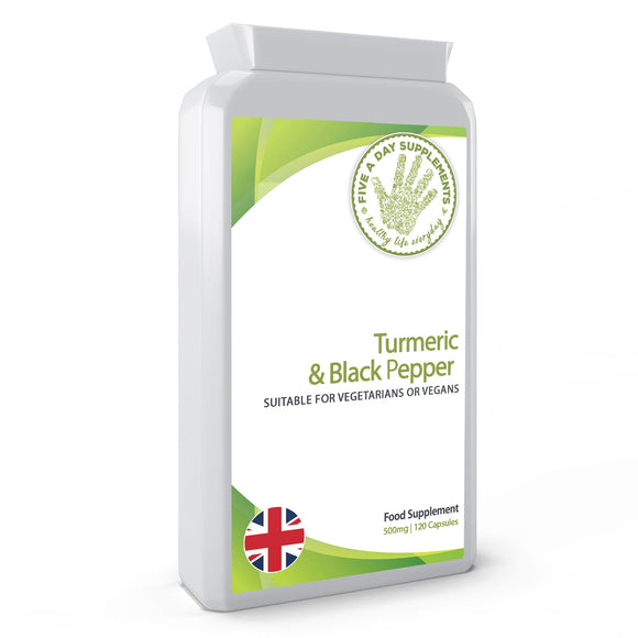 FIVE A DAY SUPPLEMENTS Turmeric 500 mg And Black Pepper 120 Capsules - Suitable for Vegetarian and Vegans