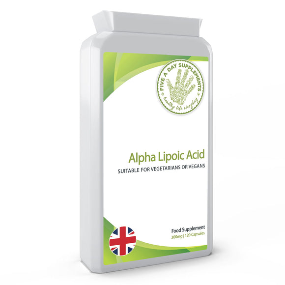 FIVE A DAY SUPPLEMENTS Alpha Lipoic Acid 300mg Supplement - 120 Capsules - Suitable for Vegetarians and Vegans