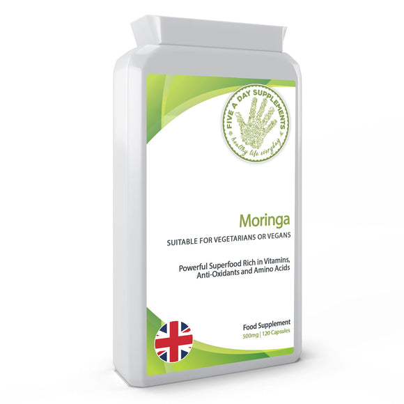 FIVE A DAY SUPPLEMENTS Moringa 500mg - 120 Capsules - Superfood, Rich in Essential Vitamins, Minerals and Amino Acids - Suitable for Vegetarians and Vegans