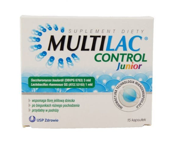 MULTILAC CONTROL JUNIOR - Probiotic for Children - 15 Capsules - Gluten-Free And Suitable For Vegans