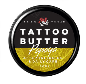LOVEINK TATTOO BUTTER - Butter For Daily Tattoo Care - PAPAYA - 50 ml - Suitable For Vegans