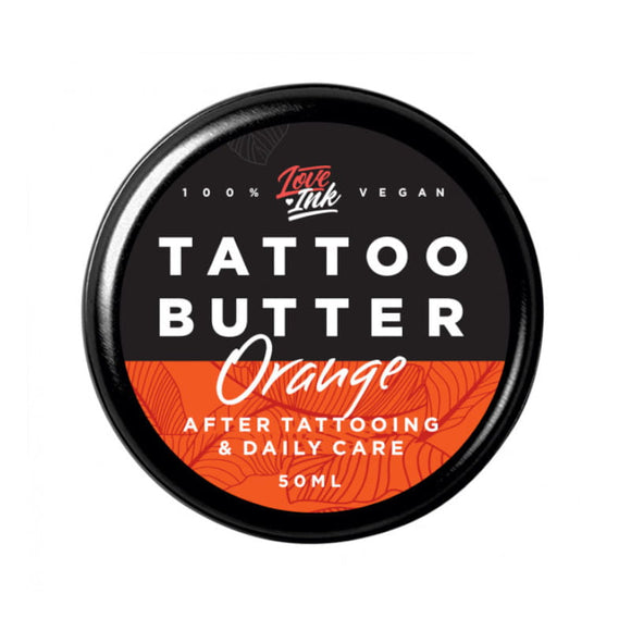 LOVEINK TATTOO BUTTER - Butter For Daily Tattoo Care - ORANGE - 50 ml - Suitable For Vegans