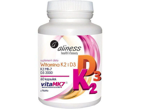Aliness Vitamin K2 MK7 and D3 - vitamin K and D - 60 capsules