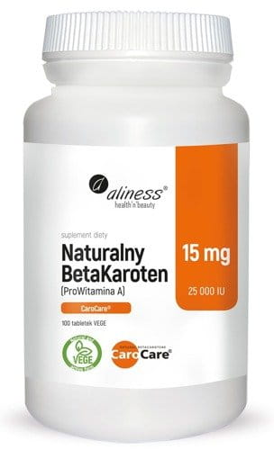 ALINESS Natural BetaKarotene 15 mg - 100 tablets - Suitable For Vegans