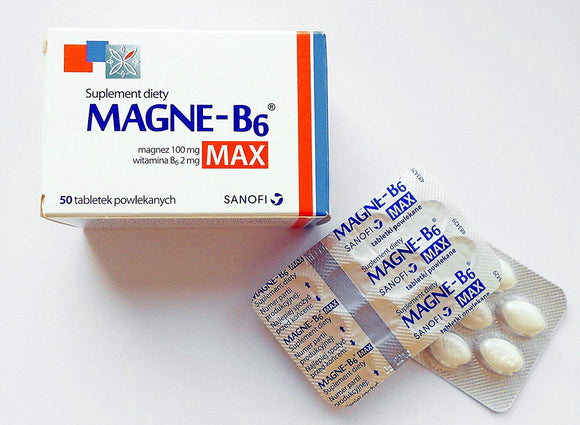 MAGNE B6 MAX - 50 capsules - is a dietary supplement containing in its composition magnesium and vitamin B6, for people suffering weakness, fatigue, twitching eyelids and muscle spasms