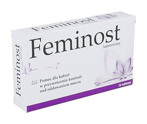FEMINOST - 56 tablets - is a combined effect of selected plant extracts and vitamins, maintaining the correct tension of the muscles that affect urinary incontinence and supporting the functioning of the urinary tract