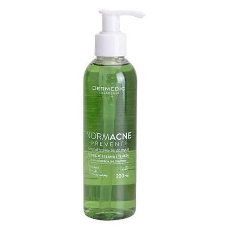DERMEDIC - NORMACNE - PREVENTI - Antibacterial cleansing facial gel - 200 g -Recommended for everyday cleansing of combination and oily skin with a tendency for acne lesions. Can also be used to wash your back - Hypoallergenic