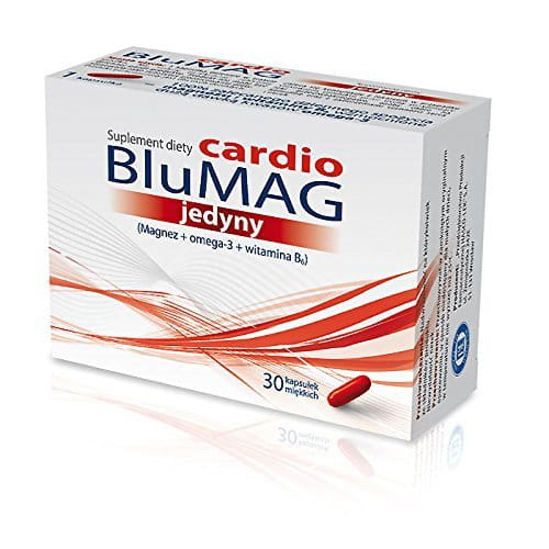 BluMag cardio only -30 capsules - a combination of omega-3, magnesium and vitamin B6 in the amount of 100% of the recommended daily intake.