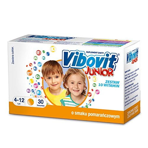 VIBOVIT JUNIOR - 30 sachets orange flavor - designed for children from 4 to 12 years old as a supplement to your daily diet with 10 essential vitamins