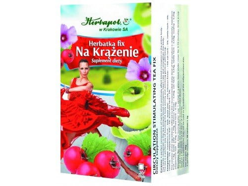 HERBAPOL - CIRCULATION-STIMULATING FIX TEA - 20 sachets - The herbs contained in the tea enhance blood circulation, heart rate and strengthen the body. The tea is a perfect way of boosting the body activity and achieving general well-being.