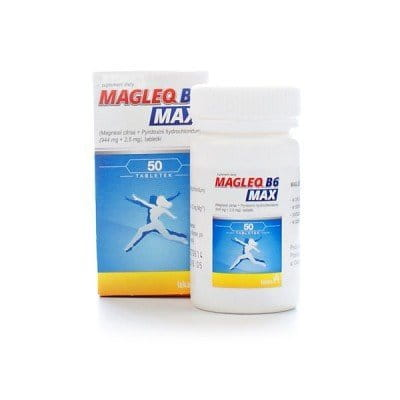 MAGLEQ B6 MAX - 50 tablets - magnesium supplement - recommended: - In order to supplement the diet with magnesium and vitamin B6...