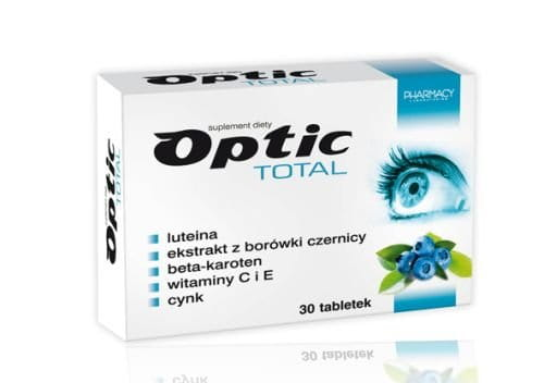 OPTIC TOTAL - 30 tablets - is recommended for people at risk factors for visual impairment, such as: long-term working at the computer, under artificial or low light, spending many hours in reading, driving vehicles, exposed to strong sunlight.