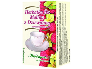 HERBAPOL - RASPBERRY TEA FIX WITH MULLEIN - 20 sachets - is an ideal selection of fruit and herbs which is used to prepare infusion with fresh taste and perfect flavour. It is recommended as hot beverage for long autumn and winter evenings