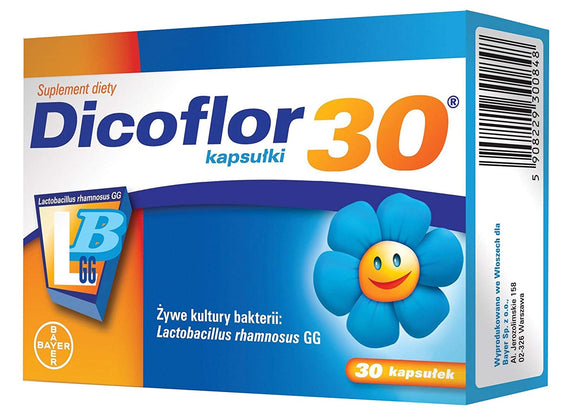 DICOFLOR 30 - 30 capsules - The preparation is intended for infants and children. It has confirmed the safety of use in different types of patients, including: premature babies, pregnant and lactating women, people with impaired digestion and absorption.