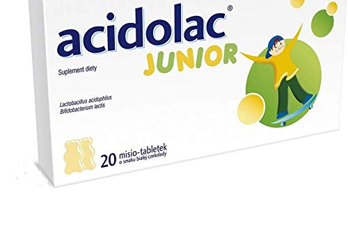 ACIDOLAC Junior, White Chocolate Teddy Bear Tablets - 2.8g, 20 Tablets