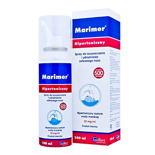 MARIMER hypertonic cleansing spray sea water nasal 100ml - is recommended for the whole family: - to clean the nose - for clearing nasal congestion, - as a supplement to treat infections of the upper respiratory tract.