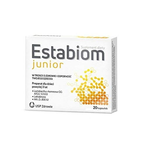 Estabiom Junior - 20 Capsules - a Dietary Supplement for Children Over 3 Years.
