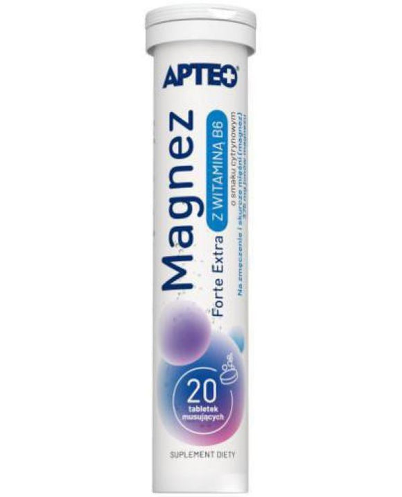 Apteo Magnez Forte Extra With Vitamin B6 - 20 effervescent tablets