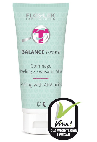 FLOS-LEK BALANCE T-ZONE Peeling With AHA Acids 125 g - For Vegan and Vegetarians