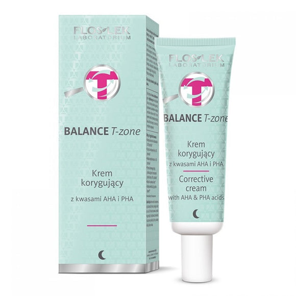 FLOS-LEK BALANCE T-ZONE Correcting Cream With AHA and PHA acids - 50ml