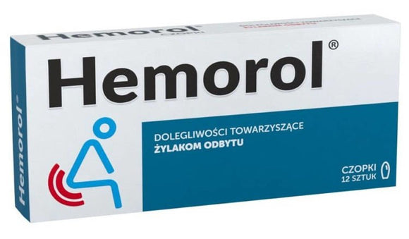HEMOROL 12 suppositories - The preparation also contains components of local styptic, anti-inflammatory and diastolic effects