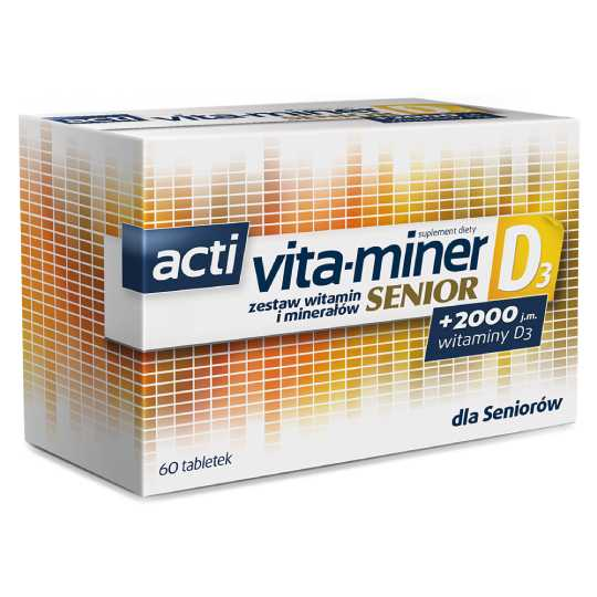 Acti Vita-miner SENIOR D3 - A Set Of Vitamins And Minerals - 60 tablets