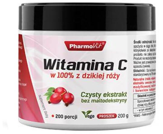 PHARMOVIT - Vitamin C 100% Rosehip - 200g - For Vegans And Vegetarians