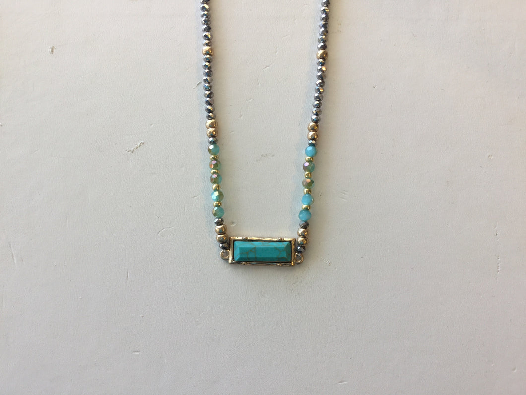 Turquoise Rectangle on crystal choker