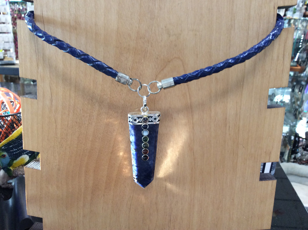 Sodalite Point with Chakra Stones on Blue Leather Choker