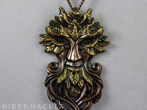 Key of the Green Man -- Painted Bronze Pendant | Hibernacula