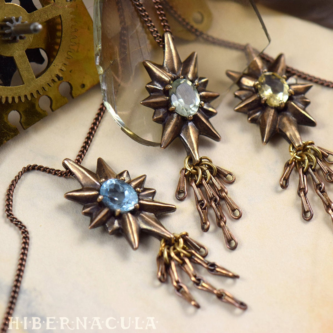 The Guiding Star -- Bronze & Gemstone Pendant & Chain | Hibernacula
