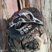 Load image into Gallery viewer, Morrigan -- Bird Skull Ring in Bronze or Silver | Hibernacula
